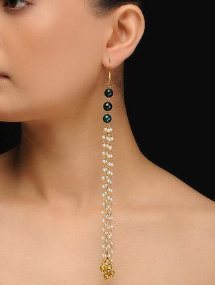 Green Gold Tone Jade and Pearl Tassels Earrings