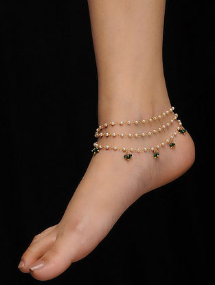 Green Gold Tone Pearls and Jade Anklets