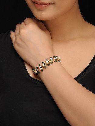 Green Gold Tone Kundan Inspired Jade Bracelet