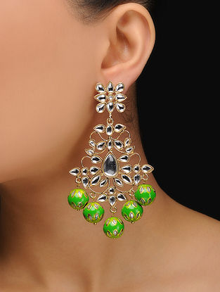 Green Gold Tone Kundan Inspired Meenakari Earrings
