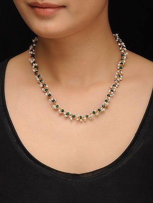 Green Gold Tone Jade and Pearls Necklace