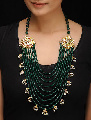 Green Gold Tone Jade Kundan Inspired Necklace