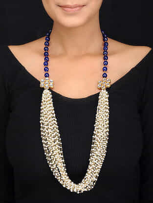 Blue Gold Tone Quartz and Shell Pearls Necklace