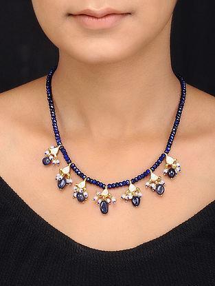 Blue Gold Tone Kundan Inspired Quartz Necklace