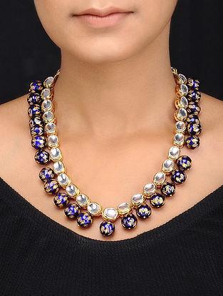 Blue Gold Tone Kundan Inspired Meenakari Beads Necklace