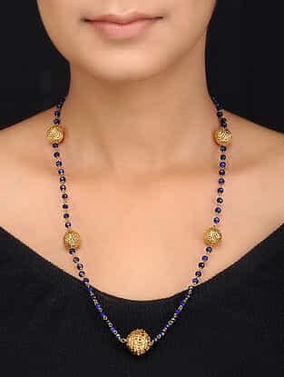 Blue Gold Tone Quartz Necklace