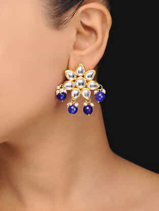 Blue Gold Tone Kundan Inspired Stones Stud Earrings