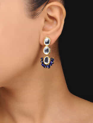 Blue Gold Tone Kundan Inspired Quartz Earrings