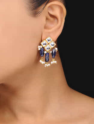 Blue Gold Tone Kundan Inspired Lapis Lazuli Stud Earrings