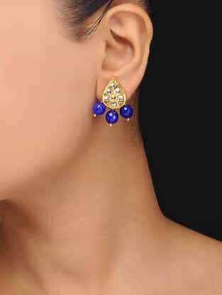 Blue Gold Tone Kundan Inspired Quartz Stud Earrings