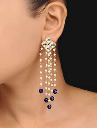 Blue Gold Tone Kundan Inspired Pearl Tassels Earrings