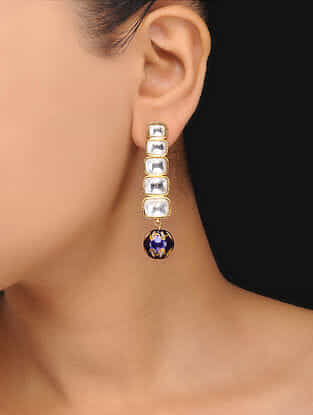 Blue Gold Tone Polki Meenakari Earrings