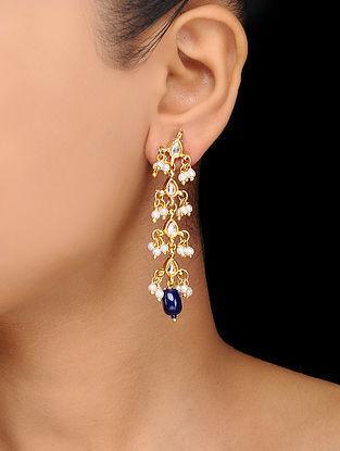 Blue Gold Tone Kundan Inspired Stone Earrings