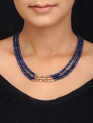 Blue Gold Tone Quartz Multistrand Necklace