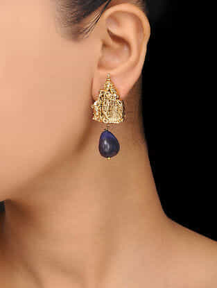 Blue Gold Plated Temple Stud Earrings