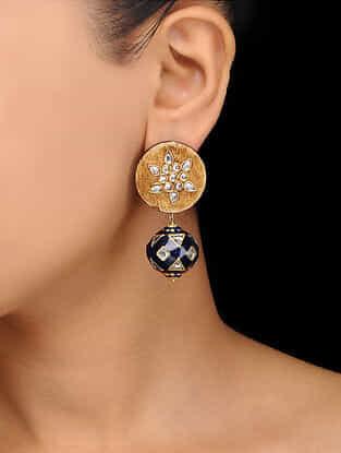Blue Gold Tone Wooden Kundan Inspired Meenakari Stud Earrings