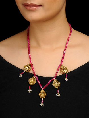 Pink Gold Tone Tourmaline Temple Necklace
