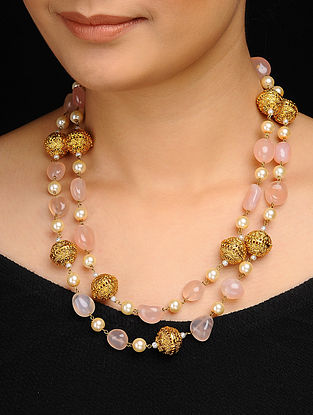 Pink Gold Tone Rose Quartz and Pearls Necklace