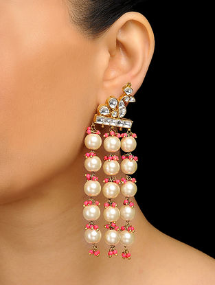 Pink Gold Tone Pearls and Polki Earrings