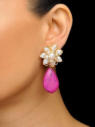 Pink Gold Tone Pearl Stud Earrings