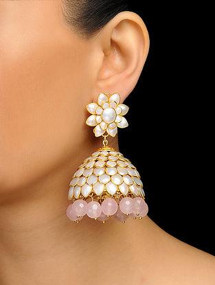 Pink Gold Tone Pearl and Rose Quartz Jhumka