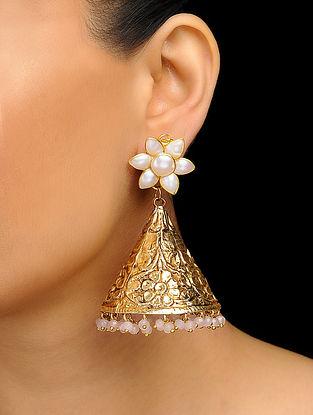 Pink Gold Tone Rose Quartz Dogri Jhumka