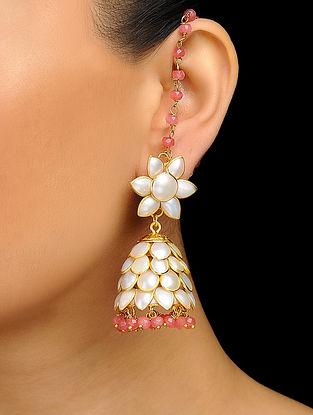 Pink Gold Tone Pearl Jhumka