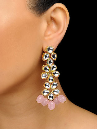Pink Gold Tone Kundan Inspired Stone Earrings