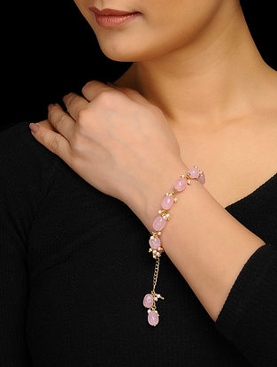 Pink Gold Tone Rose Quartz and Pearls Bracelet