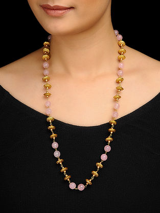 Pink Gold Tone Rose Quartz Necklace
