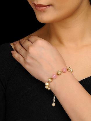 Pink Gold Tone Pearls and Rose Quartz Jadau Bracelet