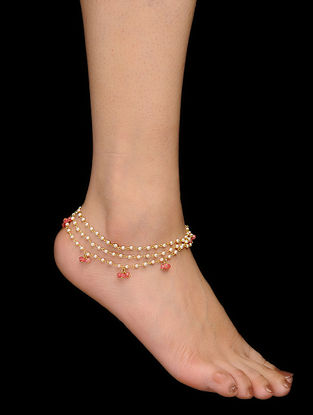 Pink Gold Tone Pearls and Rose Quartz Anklets