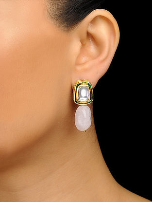 Pink Gold Tone Kundan Inspired Stud Earrings