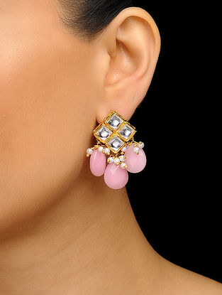 Pink Gold Tone Kundan Inspired Stone Stud Earrings