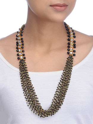 Black Gold Tone Kundan Inspired Beaded Necklace