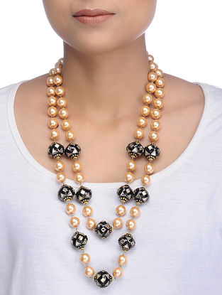 Black Gold Tone Meenakari and Pearl Necklace