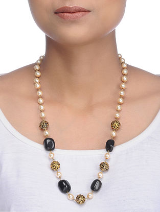 Black Gold Tone Shell Pearls and Natural Stone Necklace