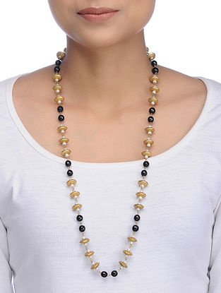 Black Gold Tone Onyx Necklace