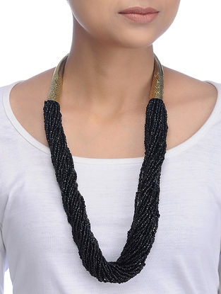 Black Gold Tone Beaded Necklace