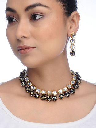 Black Gold Tone Kundan Inspired Meenakari Necklace with Earrings (Set of 2)