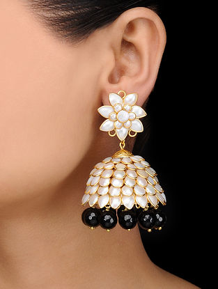 Black Gold Tone Onyx and Pearl Jhumkas