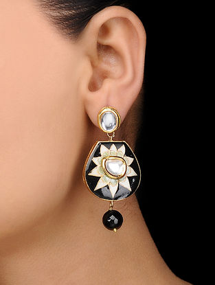 Black Gold Tone Hand Painted Earrings