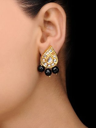 Black Gold Tone Kundan Inspired Onyx Stud Earrings