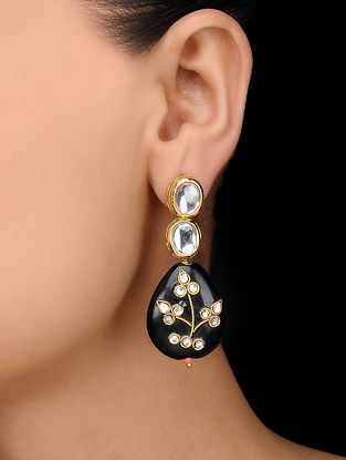 Black Gold Tone Kundan Inspired Earrings