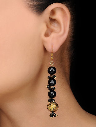 Black Gold Tone Onyx Earrings