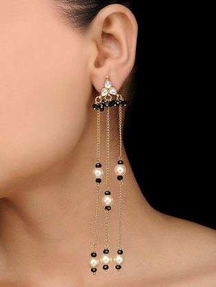 Black Gold Tone Onyx and Polki Earrings