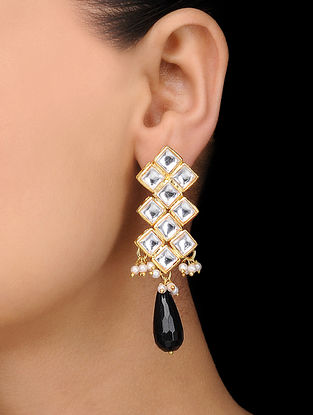 Black Gold Tone Kundan Inspired Stone Earrings