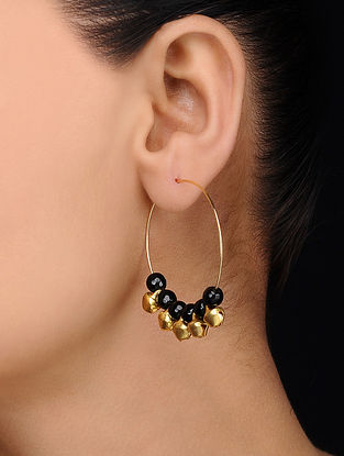 Black Gold Tone Onyx Earrings with Ghungroo
