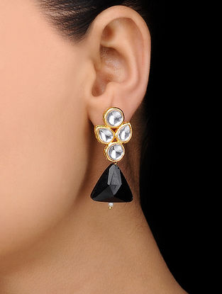 Black Gold Tone Kundan Inspired Crystal Earrings