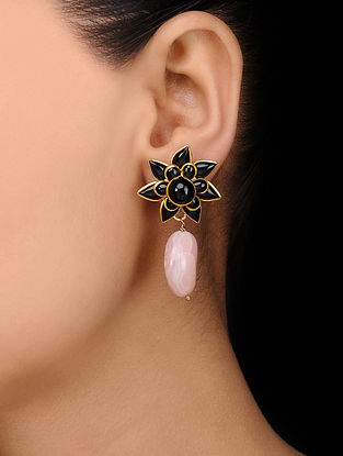 Black Gold Tone Stud Earrings